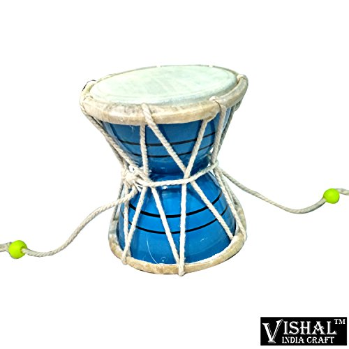 VISHAL INDIA MART HANDMADE SMALL SIZE WOODEN DAMROO FOR HOME OFFICE TEMPLE, BLUE COLOR DAMRU - GIFT ITEM  available at amazon for Rs.299