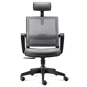 INTEY Bürostuhl, Ergonomischer Bürosessel, Schreibtischstuhl, atmungsaktiver Drehstuhl, verstellbarere Kopfstütze und Lendenstütze, Belastbar bis 110kg, Grau