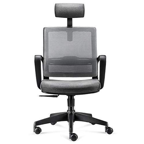 INTEY Bürostuhl, Ergonomischer Drehstuhl, Schreibtischstuhl, atmungsaktiver Chefsessel, verstellbarer Computerstuhl, Kopfstütze und Lendenstütze, Belastbar bis 110kg, Grau