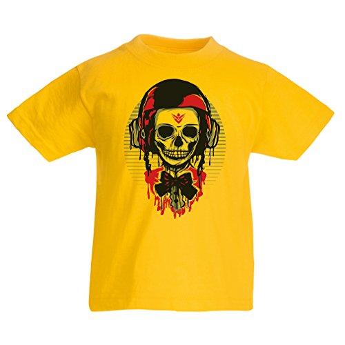 """Camisas para niños """"Un cráneo de moda con casco de motocicleta"""" (14-15 years Amarillo Multicolor)"""