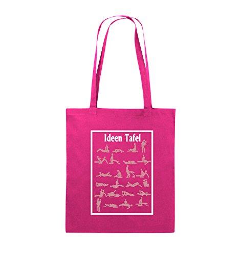 Borse Commedia - Idee Lavagna - Sesso Posizione - Iuta - Lungo Manico - 38x42cm - Colore: Nero / Bianco-rosa Neon / Rosa-bianco