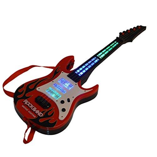 MRKE Guitarra Electrica Niños 4 Cuerdas Guitarra Juguete con Luces y Música