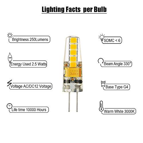 * 4 pezzi G4 Lampadina led 2,5W, equivalente a 20W Lampada Alogena, 250LM, AC/DC 12V, SMD 2835, Bianco caldo 3000K, Angolo di visione 330°, non dimmerabile confronta il prezzo