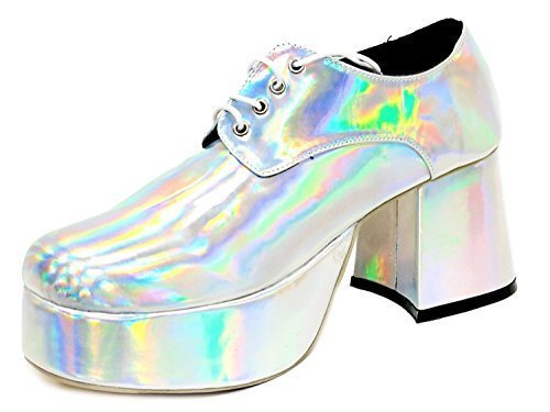 SIlver, White or Black Disco Platform Shoes for Men. Sizes 5 to 11