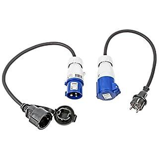 APT CEE Adapter Set Schuko - CEE 200-250V, 16A, 3polig, 12 cm, Ip44 ideal für Camping