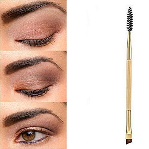 Hilai Duo de pinceaux pour les yeux et par Cosmetics Brosse à Sourcils Pinceau de Maquillage Peigne à Sourcils Poignée en Bois Bamboo poignée Double-end