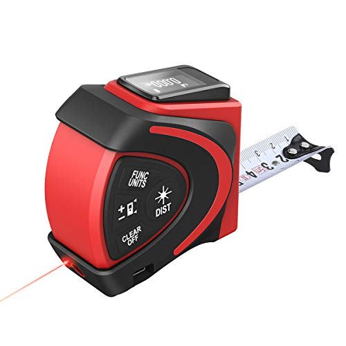 Massband Laser Entfernungsmesser 2 in 1 Maßband Laser Messgerät Entfernung mit LCD Hintergrundbeleuchtung, laser Bandmaß mit Magnet Haken 1 Digital Laser