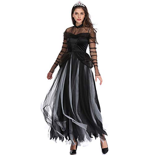 Komplette Zombie Kostüm - NCY Halloween Kostüm Cosplay Damen Schwarz Hexe Zombie Teufel Vampir Braut Sensenmann Komplettes Outfit Groß,XL