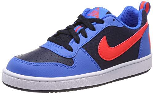 Nike Mädchen Court Borough Low (Gs) Basketballschuhe, Mehrfarbig (Obsidian/Bright Crimson/Photo Blue/White 404), 36.5 EU (Nike Kids Basketball-schuhe Jungen)