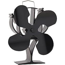 VODA Ventilateur de poêle à Bois avec 4 Lames pour poêle à Bois et cheminée - Respectueux de l'environnement Noir