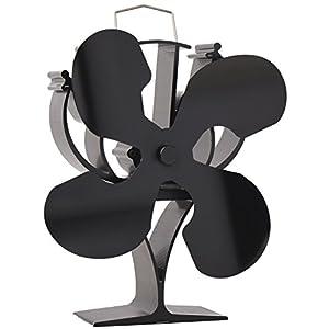 VODA Ventilador de estufa de 4 aspas con calor para leña/quemador/chimenea, respetuoso con el medio ambiente (negro)