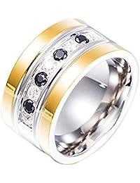 Blisfille Joyería -Anillo de Redondo Anillos de Bisuteria Anillo Acero Inoxidable Matrimonio,Azul