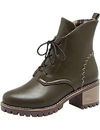 SHOWHOW Damen Tarnung Schnürstiefeletten Kurzschaft Stiefel mit Absatz Militär-Grün 38 EU 9NK0S0DpJY