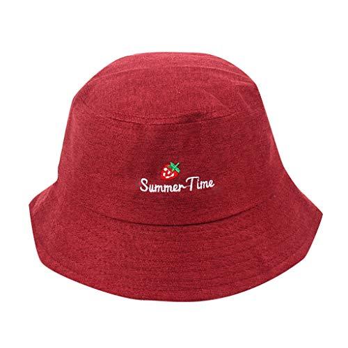 iYmitz Sommer Damen Fischerhut Sonnenschutz Erwachsene Frauen Männer Erdbeer Cord Fischer Hut Outdoor Anti-UV Mode Caps(rot,One size)