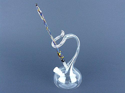 Glasfeder, Schreibfeder aus Glas mit Tintenfass, Lauscha, Handarbeit gb/r/bl R