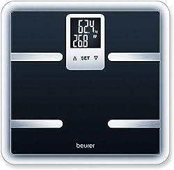 Beurer BG 40 digitale Körperanalysewaage aus Sicherheitsglas, Körperfettmessung und Kalorienanzeige