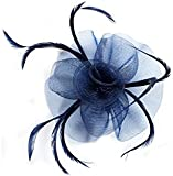 Women's Elegant Swirl with Workmanship Yarn Network with Fixing System of Swirl Fascinator on a Clip and Brooch A. Available in Black, Navy, Cream or Red.