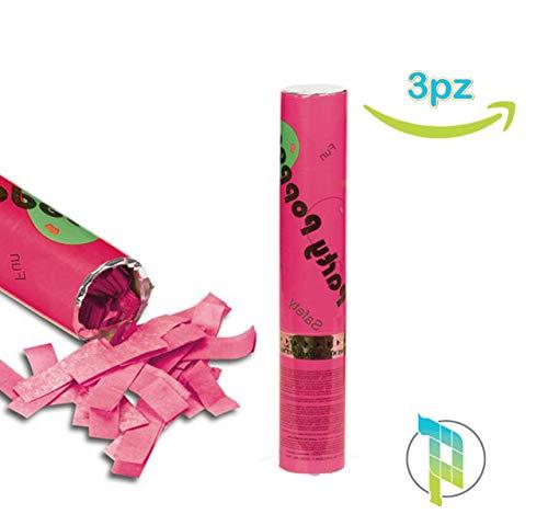 Palucart 3 sparacoriandoli rosa spara coriandoli rosa party popper 30cm cannone sparacoriandoli colorati 4176