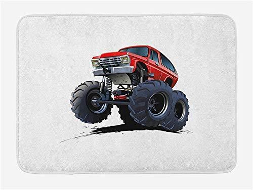 Tappeto assorbente per il bagno Tappeto di benvenuto Tappeto per interni Tappeto per esterni con supporto antiscivolo Estrema fuoristrada Cartone animato in stile Monster Truck Motorsports Illustratio