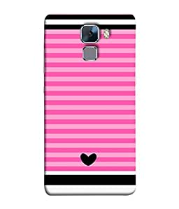 Huawei Honor 7, Huawei Honor 7 (Enhanced Edition), Huawei Honor 7 Dual SIM Back Cover Black Colour Heart With Pink Shade Lines Design From FUSON