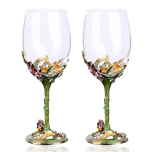 QYZLT Emaille Weinglas Becher Glas Set Kristallglas kreative High-End-Weinglas Ornamente Geschenke,Green (Bemalt Von Weingläser Hand)