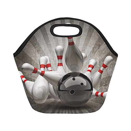 Neopren-Lunchpaket-Bowlingkugel die in Stifte auf großen wiederverwendbaren thermischen starken Mittagessen-Taschen-Taschen für Mittagessen-Kästen für im Freien Arbeit Büro Schule zusammenstößt