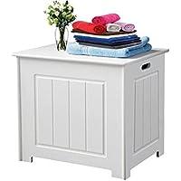 Cuarto de baño la ropa sucia unidad de almacenamiento organizador baúl de madera ...