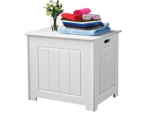 Cuarto de baño la ropa sucia unidad de almacenamiento organizador baúl de madera color blanco