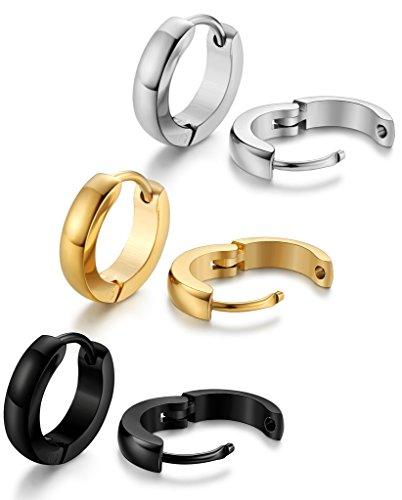 Jstyle Edelstahl 3er Ohrstecker Set Ohrclips Ohrringe Ohranhänger Ohrschmuck Farbesilber Farbegold Schwarz 12mm für Damen Herren