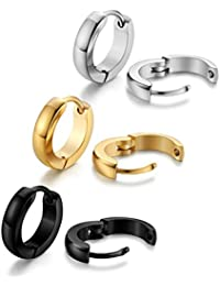 Jstyle Joyería en Acero Inoxidable 3 Pares Pendientes Aro Negro Blanco y Dorado para Mujer Hombre
