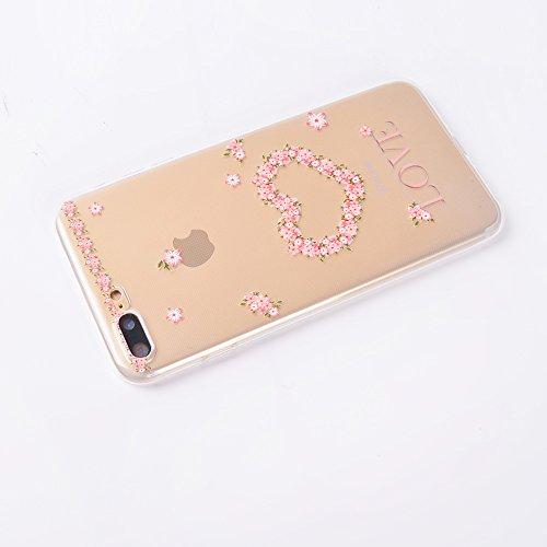 """iPhone 7 Plus Cover , IJIA Ultradünne Transparent Bunte Niedlich Frisch Blumen TPU Weich Silikon Stoßkasten Hülle Handyhülle Schutzhülle Handyhüllen Schale Case Tasche für Apple iPhone 7 Plus 5.5"""" TT8"""