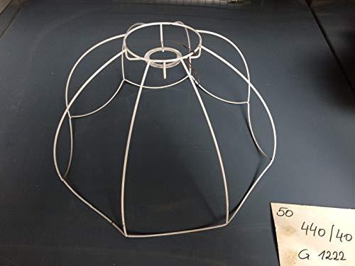 Nexos Trading - Pantalla de lámpara con estructura de alambre, diseño retro, color blanco, Blanco, 40 cm