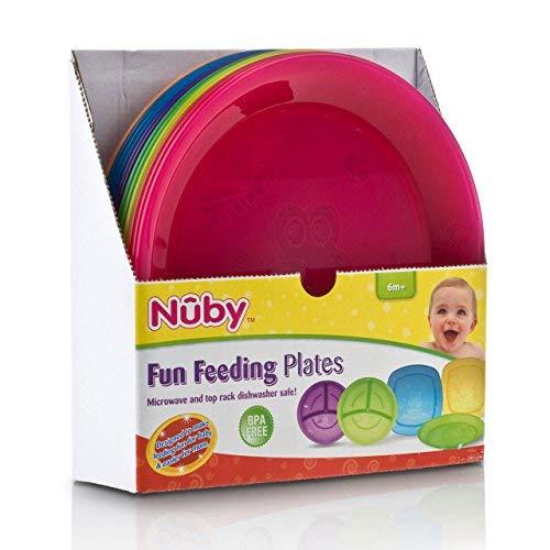 Nuby Fun Feeding Round Platten 6m + Mikrowelle und Top Rack Spülmaschinenfest - Farben können variieren, 1 Platte Platte Rack
