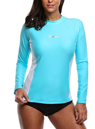 d7a4ea1fa2062b ALove Damen Rashguard UV Shirt Langarm Schwimmshirt UV Schutz 50+ Blau XL