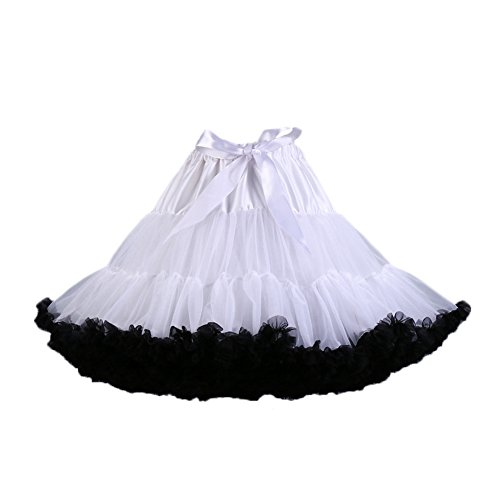 PhilaeEC Frauen Tüll Petticoat Tutu Party Multi-Layer Puffy Cosplay Rock(Weiß+schwarz) (Weiß Schwarz Rock)