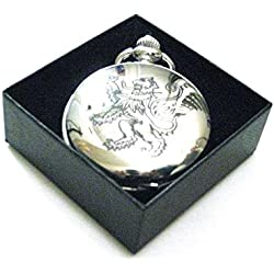 A Unique Engraved Design Lion Rampant Pocket Watch Made in Scotland by Art Pewter