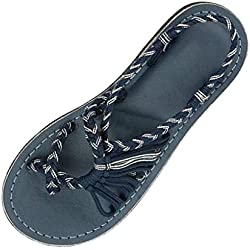 Chanclas para Mujer Roman Cruzar Flor Flip-Flop Cuerda de Paja Sandalias de Vestir Zapatos de Plataforma Beach Sandal Cuarto de Baño (35, Gris)