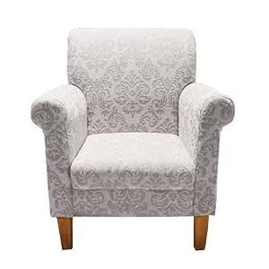 Premier Housewares Feature Chair Glamour Chenille Jacquard - 94 x 77 x 82 cm, Ivory/ Gold