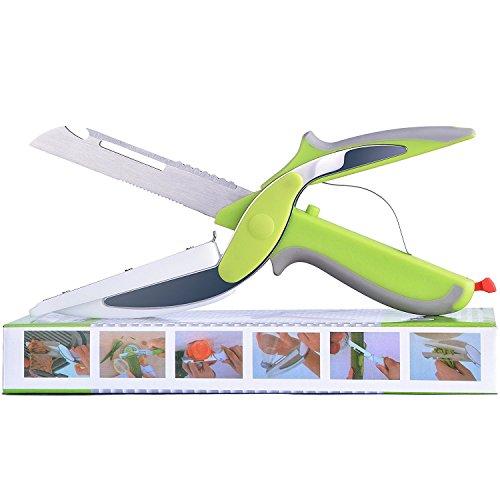 Slicer-board (REFAGO 6-in-1 Food Chopper Set Clever Kitchen Knife with Cutting Board and Detachable Knife Multifunction ScissorsIdeal as Vegetable Slicer - Meat Chopper - Bottle Opener - Peeler and Finger Guard)