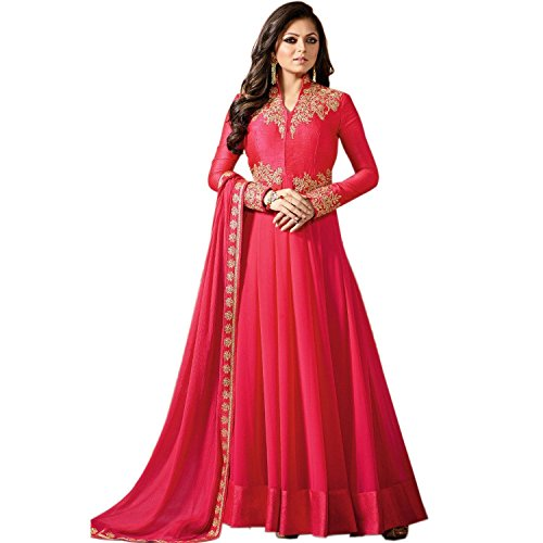 Drashti Dhami Pink Color Georgette Fabric Embroidery work Semi Stitched Anarkali Salwar Suit (Free_Size_Hand Work)  available at amazon for Rs.1499