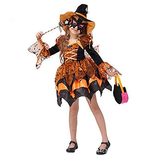 Mädchen Wirklich Kostüm Süße - Yqihy Halloween-Märchen-Cosplay-Hexe Süße Hexe leuchtet orange Kleid/Hut/Requisiten Volles Mädchenkostüm