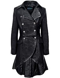 EDWARDIAN 3492 chaqueta para mujeres Negro cuero autentico atada detrás chaqueta de la capa gótica (Black, 20)