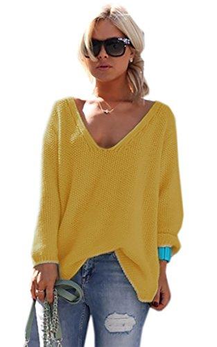 Schöner Sommer Sexy Pullover mit V-Ausschnitt Pulli viele schöne Farben Urlaub EinheitsgrößeS/M (617) (Senf)