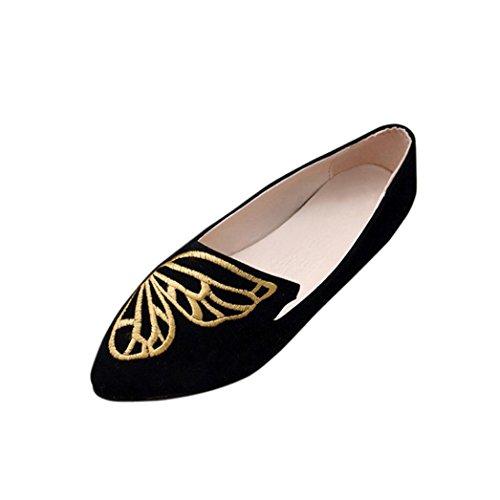Klassische Brautschuhe Damen Ballerinas Übergrößen Schuhe Elegante Slippers Stoffschuhe Metallic Schuhe Spitze Schuhspitze Abendschuhe Slipper Party Schuhe GeschlosseneTanzschuhe LMMVP (40CN, Schwarz)