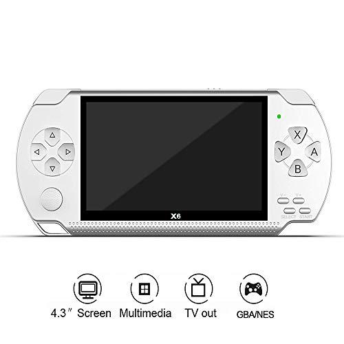 Wmas Consola de Juegos portátil, 8 GB de 4,3 Pulgadas de 32 bits 10000 Juego Incorporado 1500Ah portátil Reproductor portátil de música X6 vídeo de PSP,Blanco