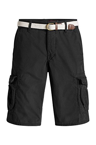 ... edc by ESPRIT Herren Shorts im Cargo Stil Schwarz (Black 001)