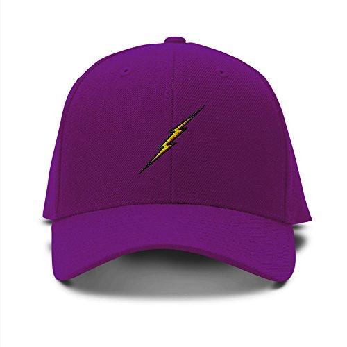 Feruch LIGHTNING BOLT SCHOOL MASCOT Embroidery Embroidered Adjustable Hat Baseball Cap Purple