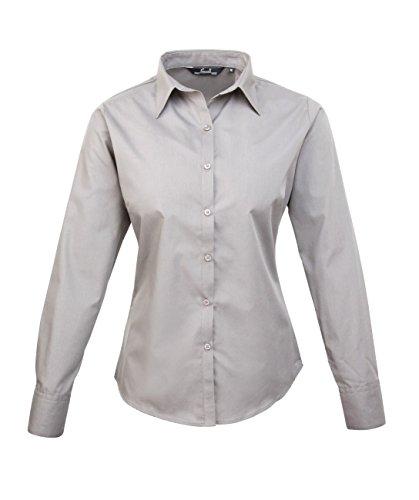 PW300Ladies Poplin a maniche lunghe, (camicia da donna/a maniche lunghe) Argento