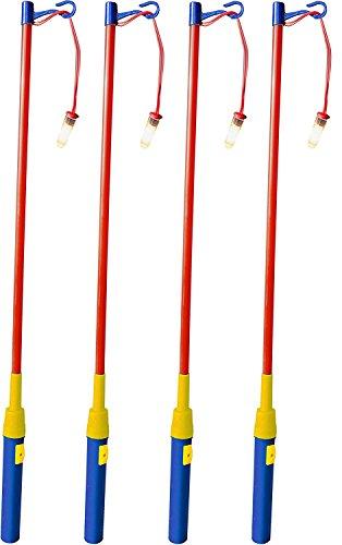 iLP 4er Set elektrischer Laternenstab ca.49cm für Kinder-Geburtstag, Party, Laternen-Umzug, St. Martin und mehr 4er-Pack (80er-jahre-rose)