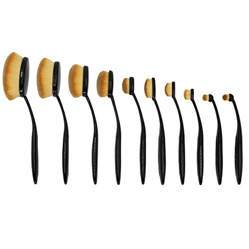 Make up Brushes , I-Dragon Professional 10 Pieces Oval Makeup Brush Set (Features Powder, Concealer, Contour, Foundation, Blending, Eyebrows, and Eye Liner Brushes) Soft Oval Toothbrush Design